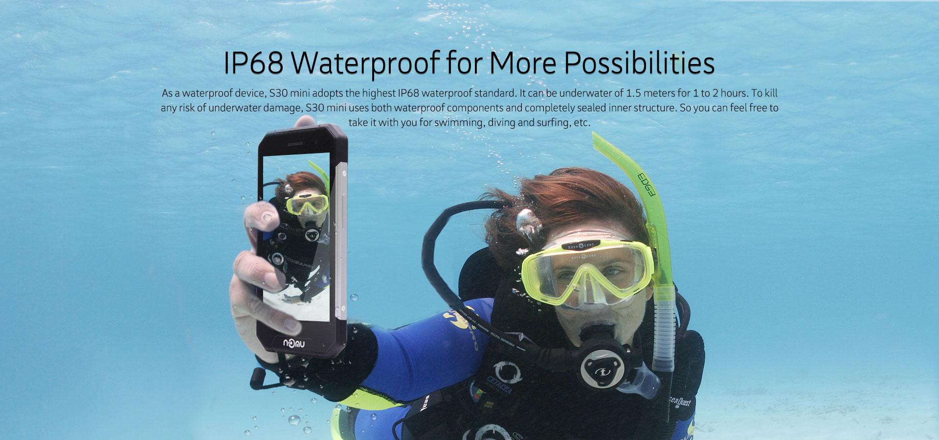 Nomu S30 Mini : test d'étanchéité sous 1 mètre d'eau