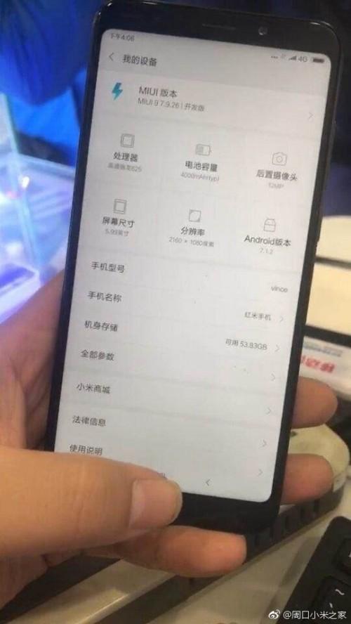 Xiaomi Redmi Note 5 : nouvelle photo et caractéristiques